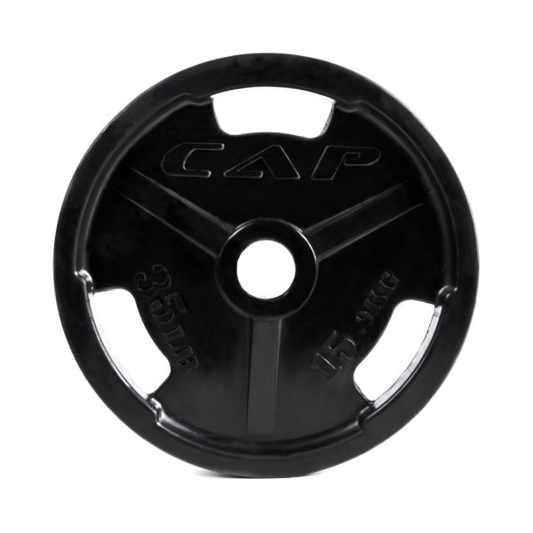 CAP OLYMPIC RUBBER COATED GRIP PLATE - 35 LB